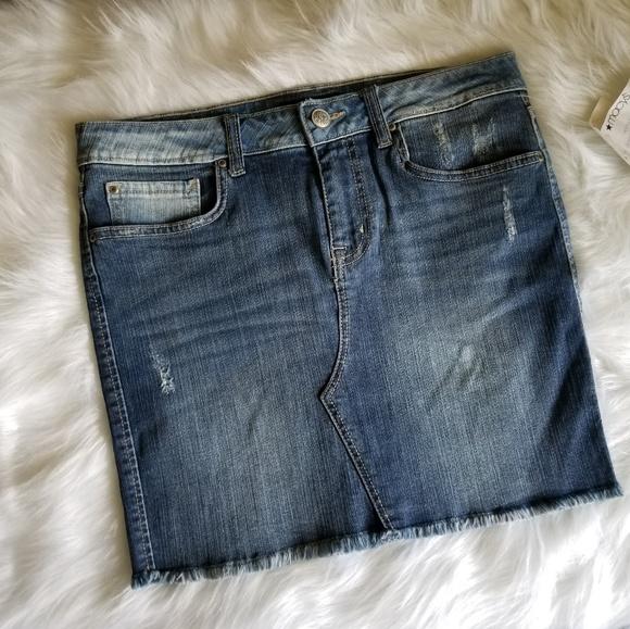 Jessica Simpson Dresses & Skirts - 🆕️ Jessica Simpson Distressed Faded Jean Skirt